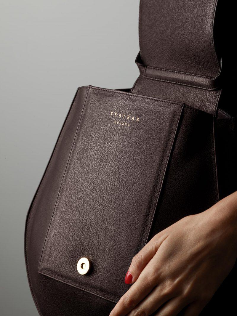 CY shoulder bag in dark brown calfskin leather | TSATSAS