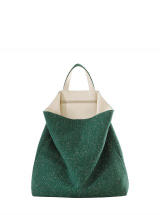 FLUKE SO_FAR tote bag in green/ivory | TSATSAS