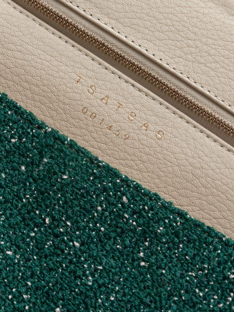 FLUKE SO_FAR tote bag in green/ivory | TSATSAS