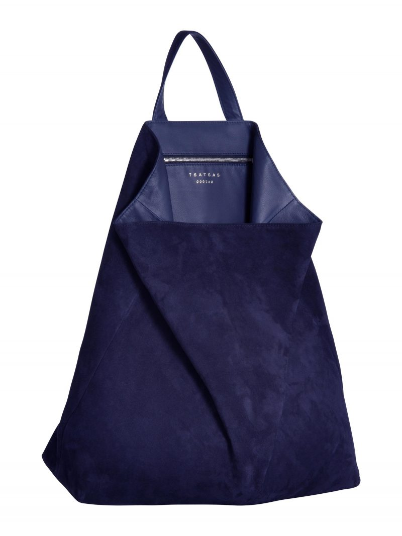 FLUKE tote bag in pacific blue goat suede leather | TSATSAS