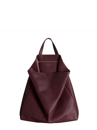 FLUKE tote bag in perforated burgundy calfskin leather | TSATSAS