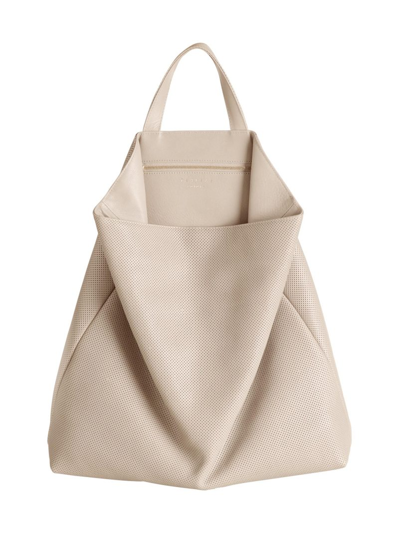 FLUKE tote bag in perforated ivory calfskin leather | TSATSAS