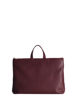 LUCID NINETY tote bag in perforated burgundy calfskin leather | TSATSAS