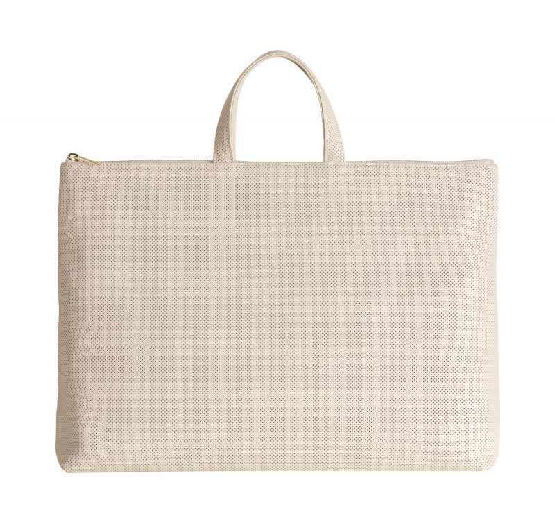 LUCID NINETY tote bag in perforated ivory calfskin leather | TSATSAS