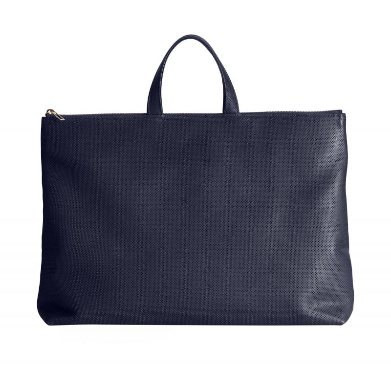 LUCID NINETY tote bag in perforated navy blue calfskin leather | TSATSAS