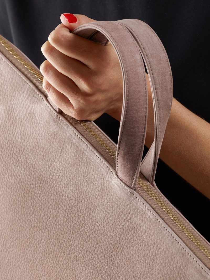 LUCID NINETY tote bag in blush pink nubuck leather | TSATSAS