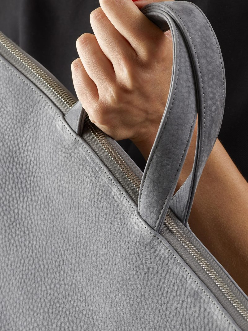 LUCID NINETY tote bag in medium grey nubuck leather   TSATSAS