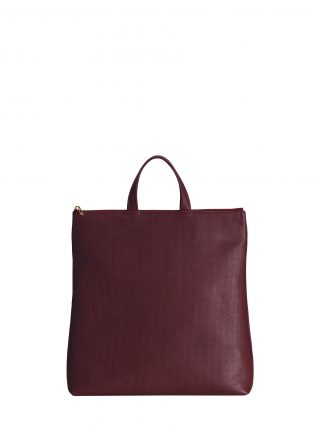 LUCID tote bag in perforated burgundy calfskin leather | TSATSAS