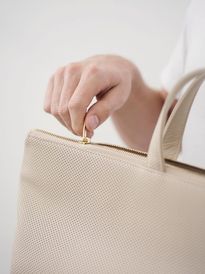 LUCID tote bag in perforated ivory calfskin leather | TSATSAS