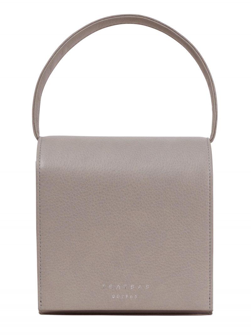 MALVA 2 top handle bag in grey calfskin leather | TSATSAS