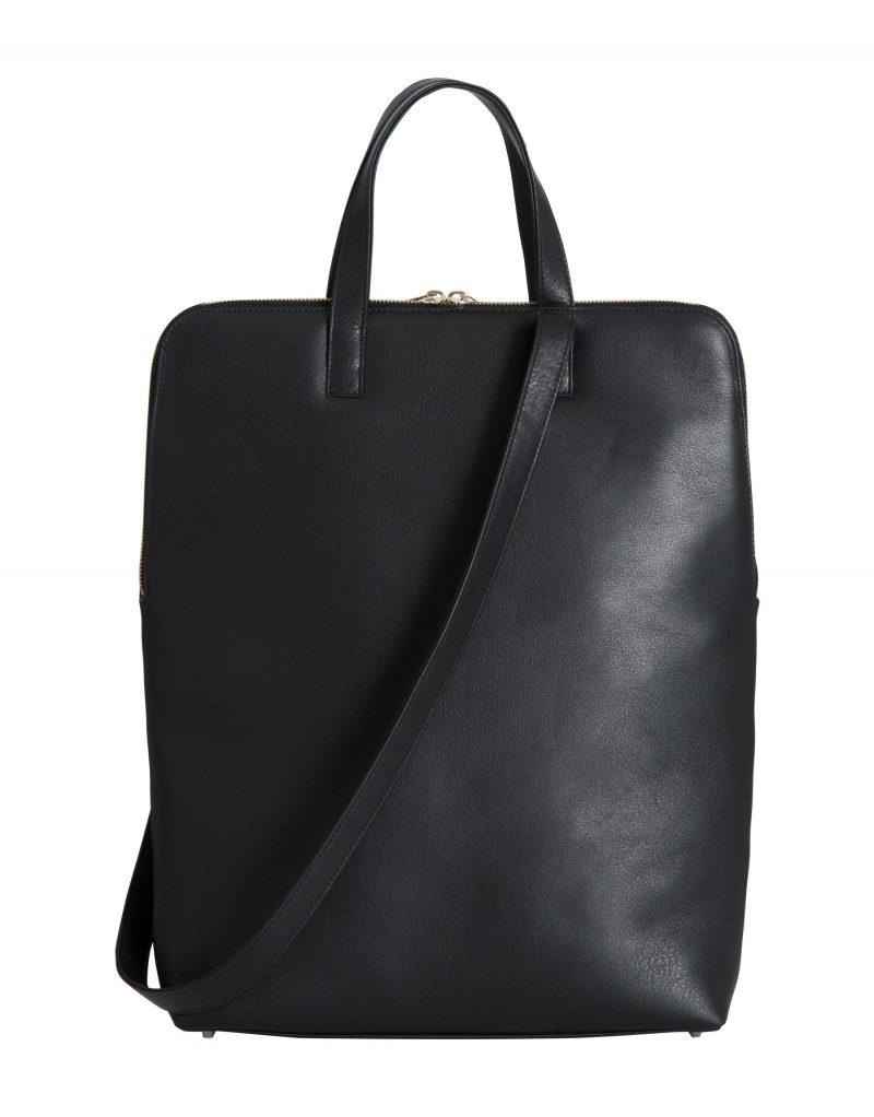 NICHE tote bag in black calfskin leather | TSATSAS