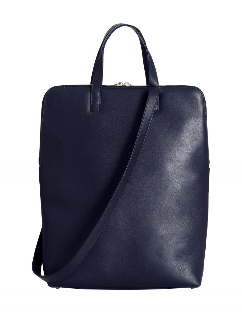 NICHE tote bag in navy blue calfskin leather | TSATSAS