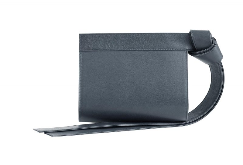 TAPE XS clutch bag in slate blue calfskin leather | TSATSAS
