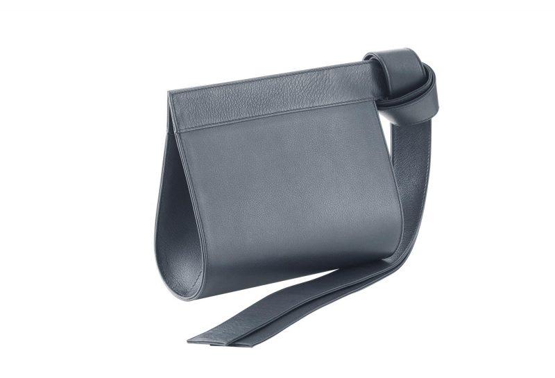 TAPE XS clutch bag in slate blue calfskin leather | TSATSAS