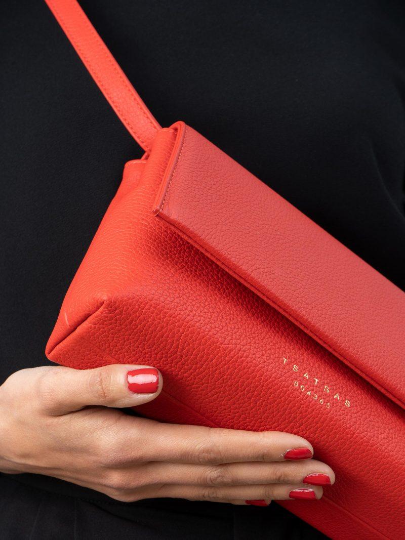 AMOS shoulder bag in bright red calfskin leather | TSATSAS