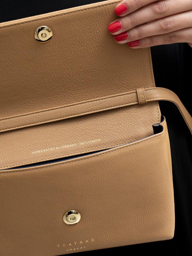 AMOS shoulder bag in cashew calfskin leather | TSATSAS