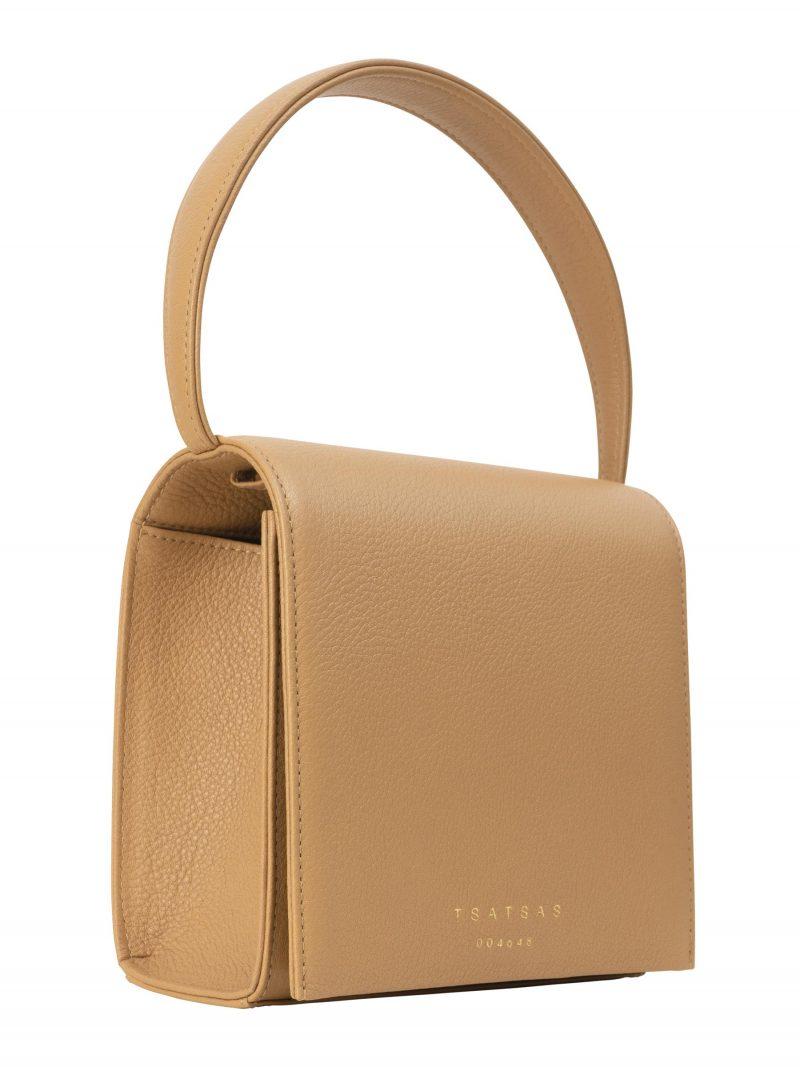MALVA 2 top handle bag in cashew calfskin leather | TSATSAS