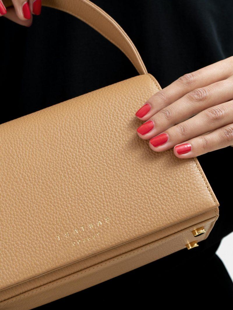 MALVA 4 top handle bag in cashew calfskin leather | TSATSAS