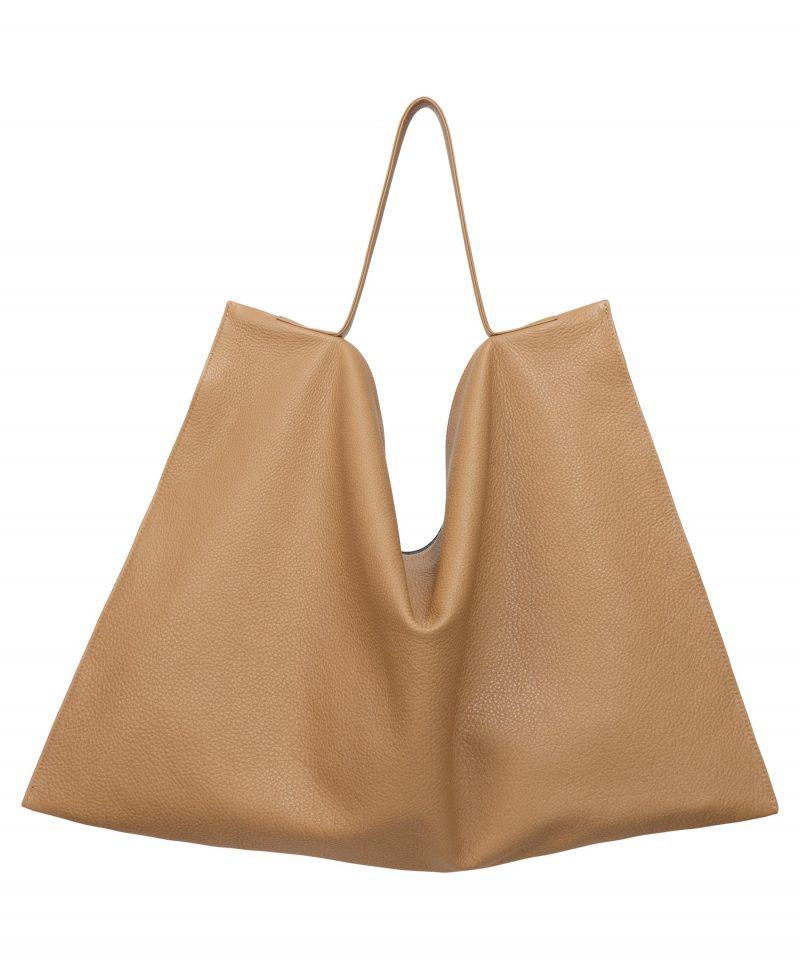 NATHAN shoulder bag in cashew calfskin leather | TSATSAS