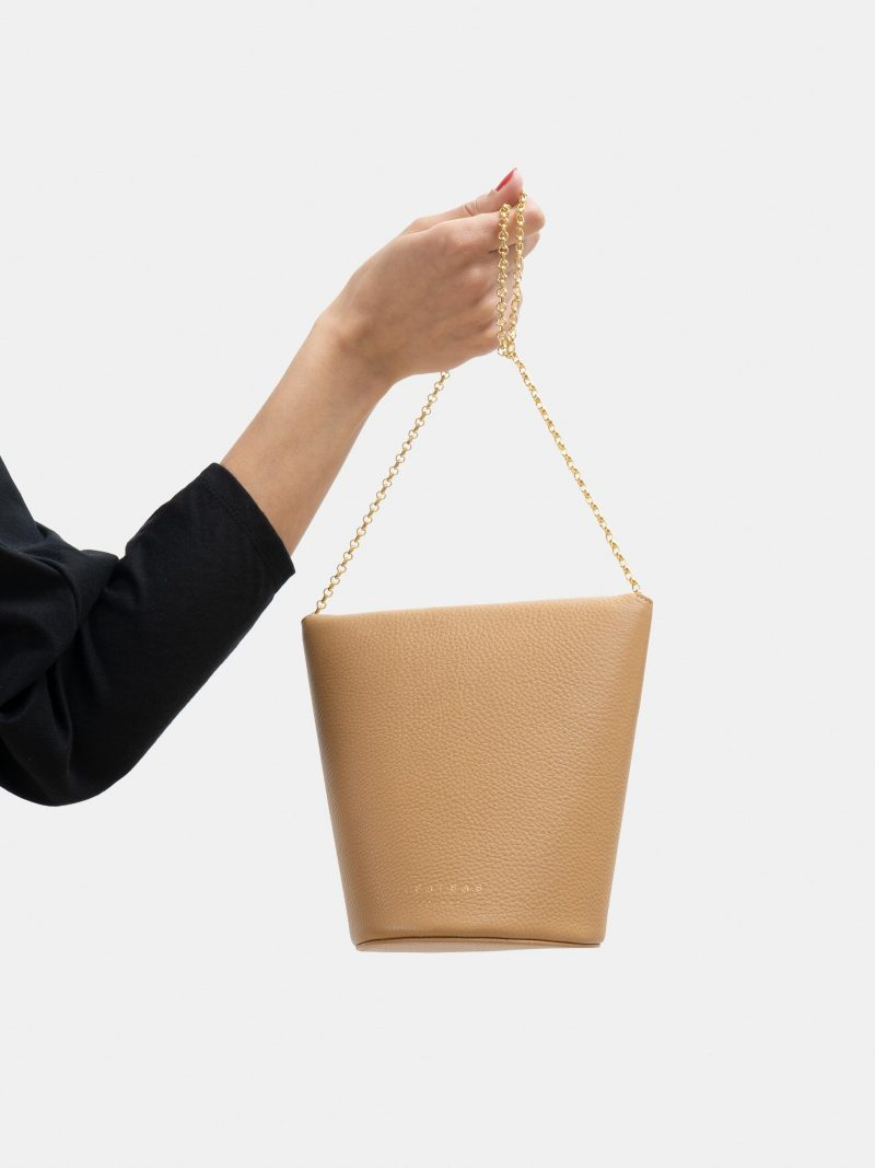 OLIVE shoulder bag in cashew calfskin leather | TSATSAS