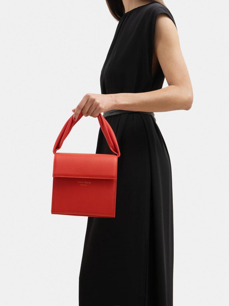 RHEI top handle bag in bright red calfskin leather | TSATSAS