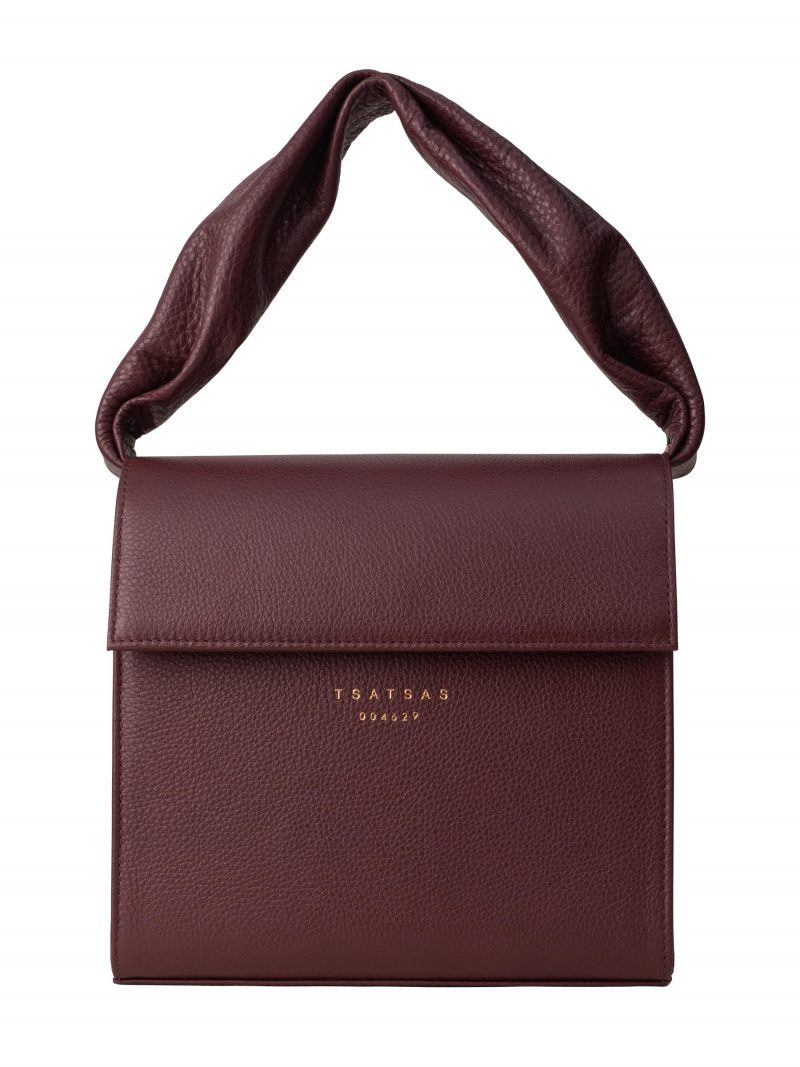 RHEI top handle bag in burgundy calfskin leather | TSATSAS