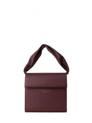RHEI top handle bag in burgundy calfskin leather | TSATSAS