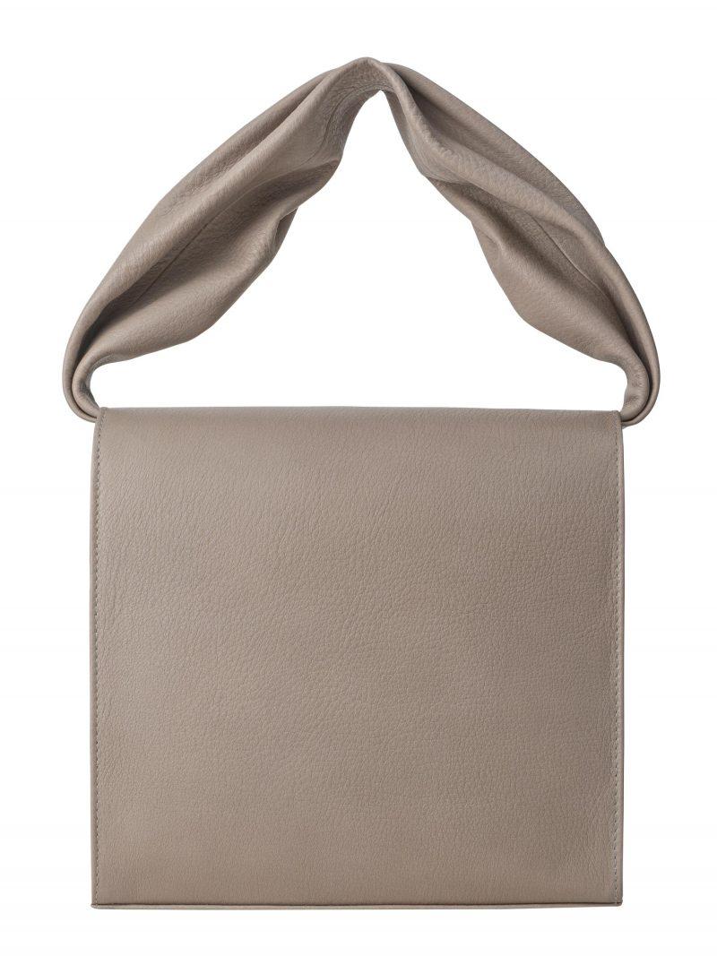 RHEI top handle bag in grey calfskin leather | TSATSAS