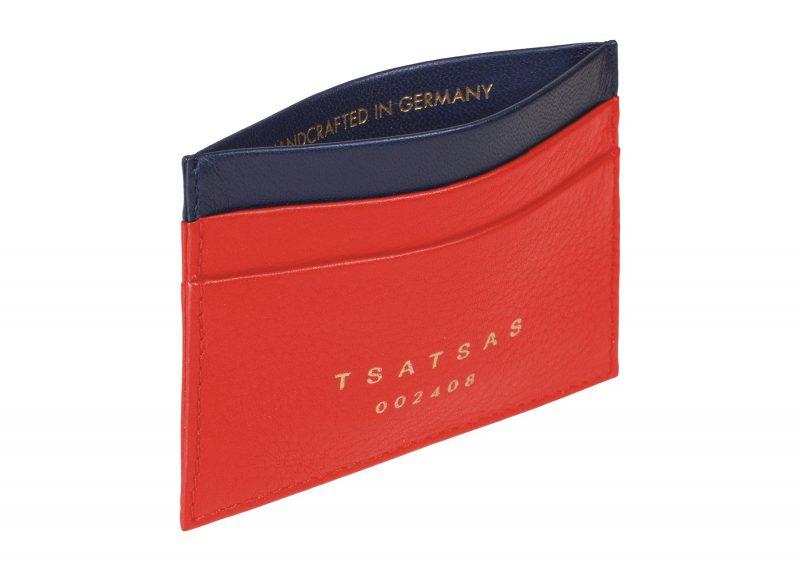 CREAM TYPE 1 card holder in bright red calfskin leather | TSATSAS
