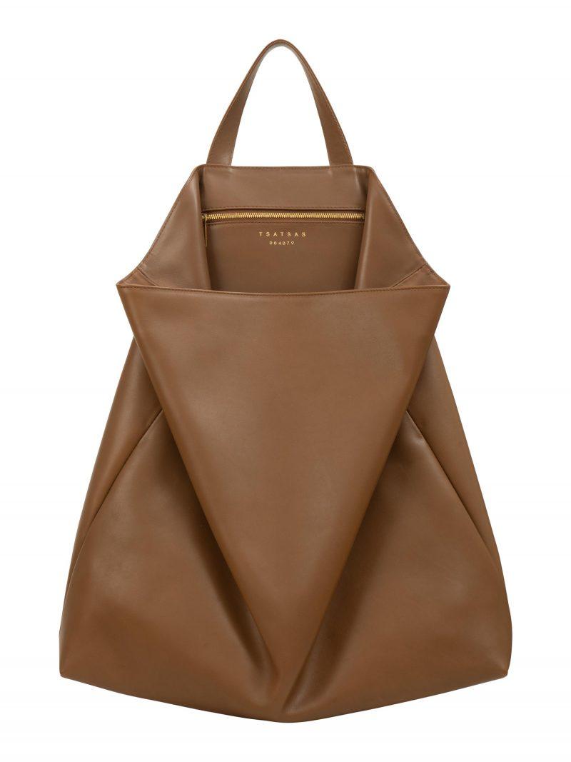 FLUKE tote bag in fawn brown smooth calfskin leather | TSATSAS