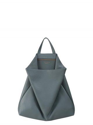 FLUKE tote bag in slate blue calfskin leather | TSATSAS