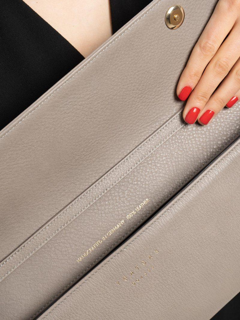 KIRAT shoulder bag in grey calfskin leather | TSATSAS