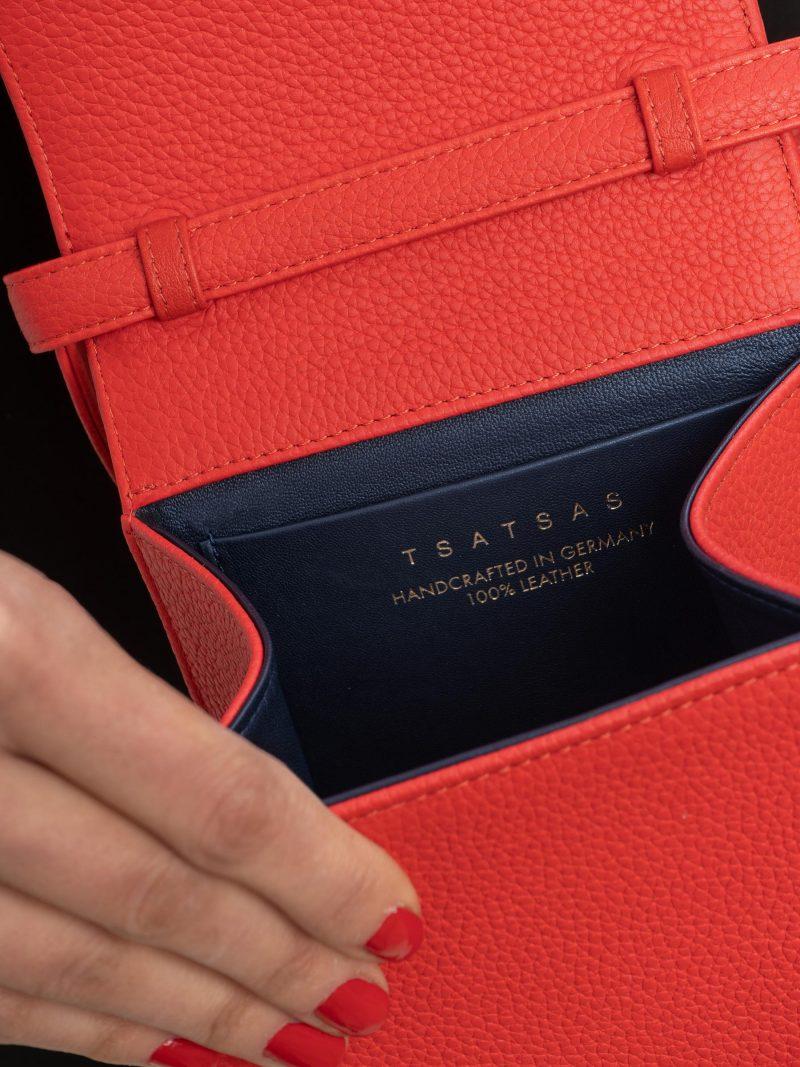 MALVA 3 hand bag in bright red calfskin leather | TSATSAS
