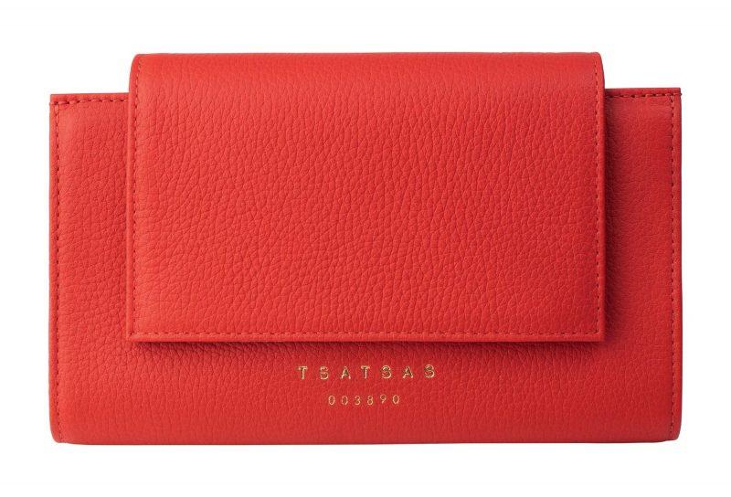 MONO wallet in bright red calfskin leather   TSATSAS
