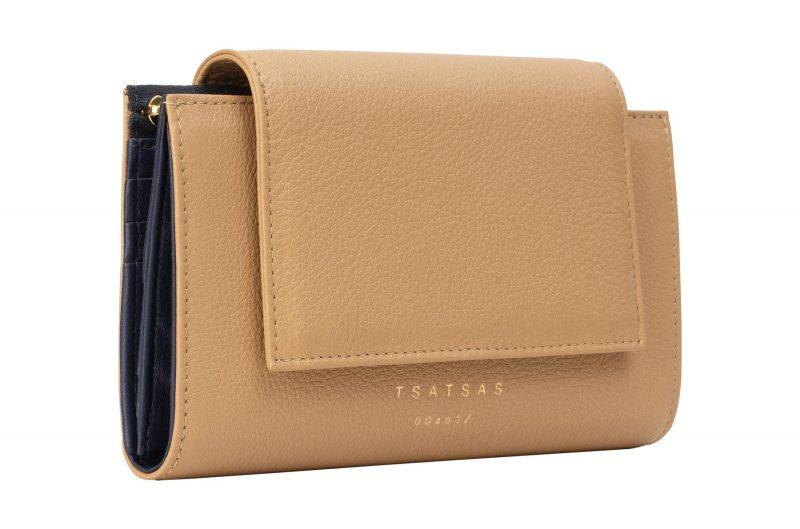 MONO wallet in cashew calfskin leather   TSATSAS