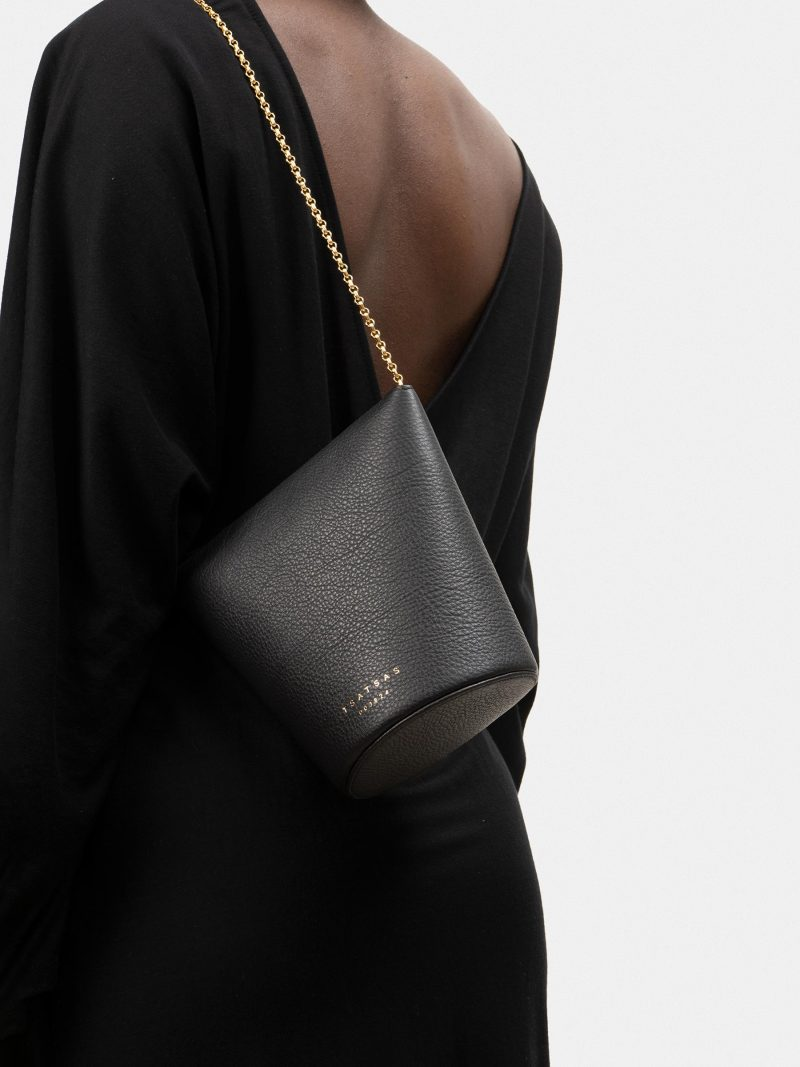 OLIVE shoulder bag in black calfskin leather   TSATSAS