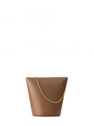 OLIVE shoulder bag in fawn brown calfskin leather | TSATSAS