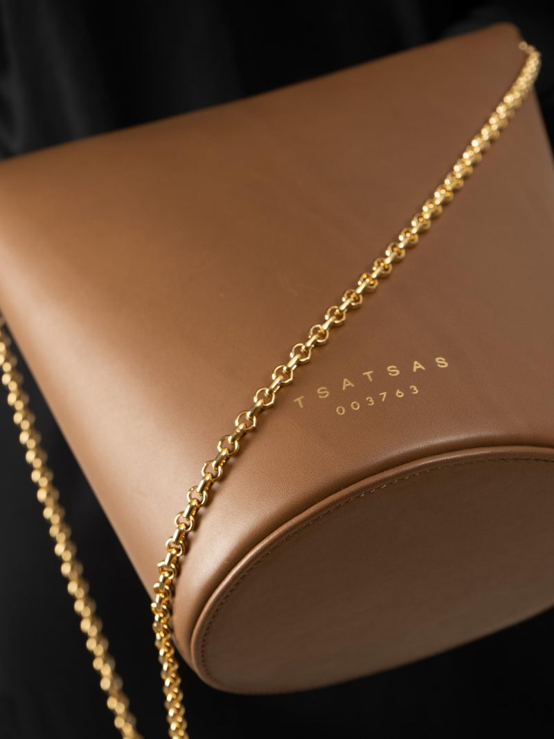 OLIVE shoulder bag in fawn brown calfskin leather   TSATSAS