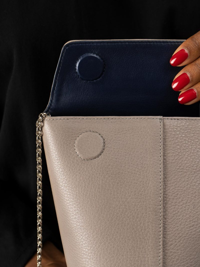 OLIVE shoulder bag in grey calfskin leather | TSATSAS