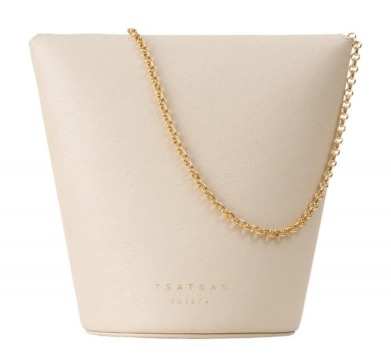 OLIVE shoulder bag in ivory calfskin leather | TSATSAS