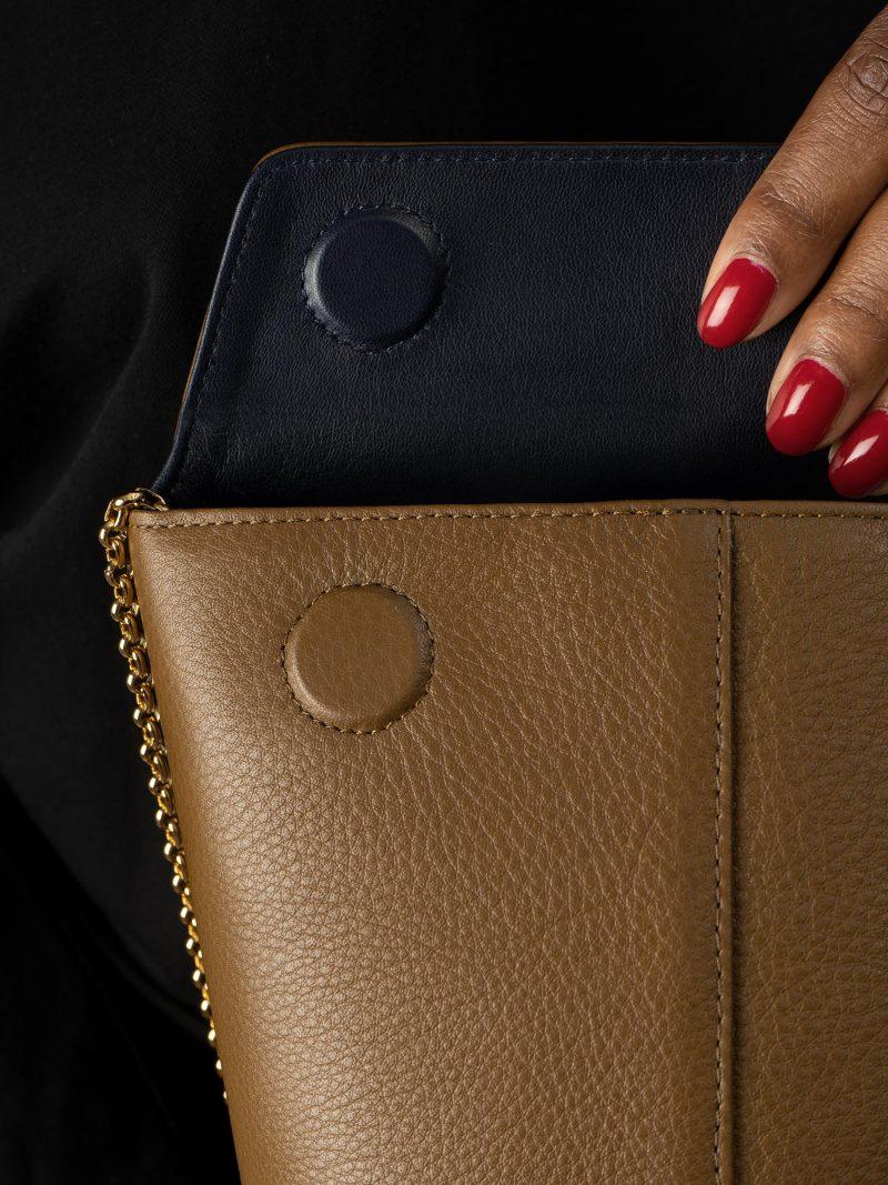 OLIVE shoulder bag in olive brown calfskin leather   TSATSAS