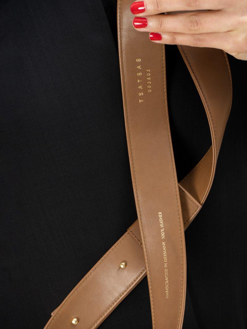 SOMA belt in fawn brown calfskin leather   TSATSAS