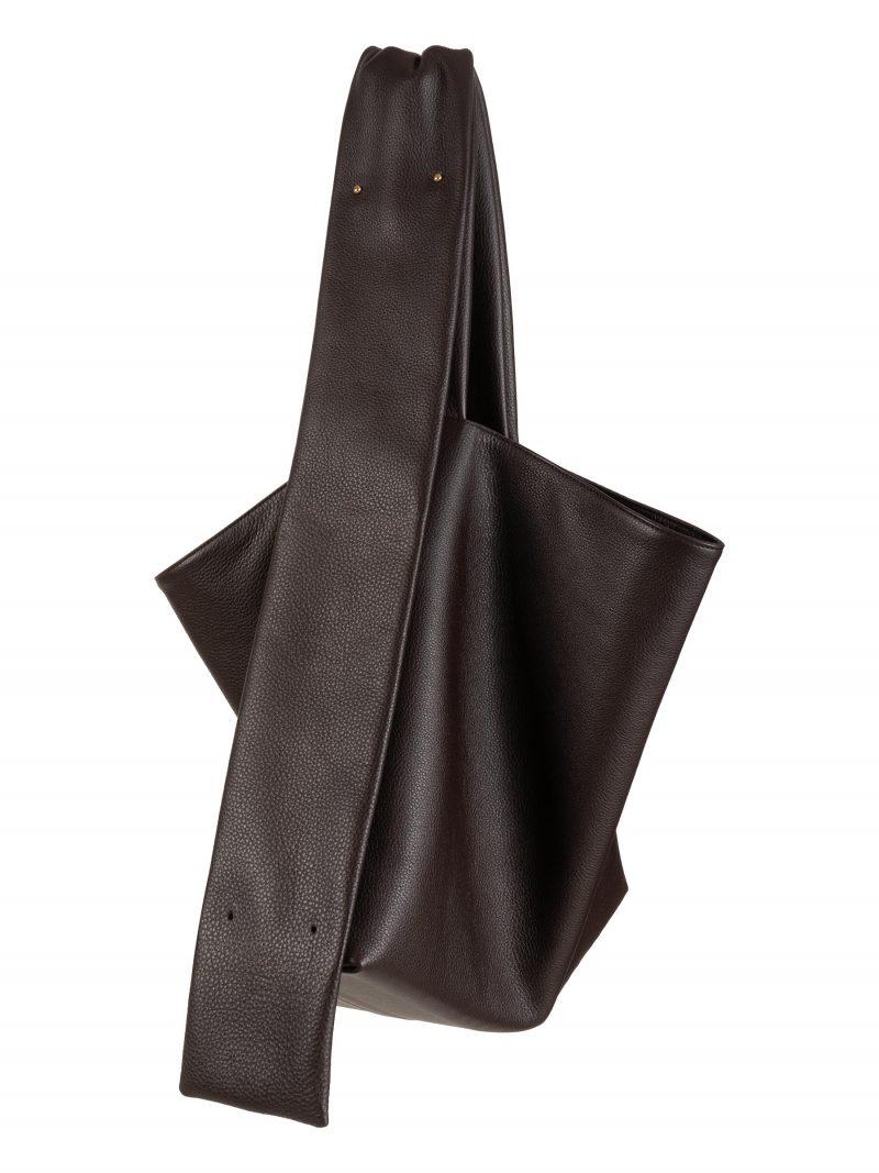SHIFT shoulder bag in dark brown calfskin leather   TSATSAS