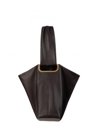 SHIFT shoulder bag in dark brown calfskin leather | TSATSAS